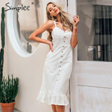 Simplee Elegant white lace women dress Sexy spaghetti strap female ruffle cotton dress Summer beach style ladies midi dresses - goldylify.com
