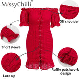 MissyChilli Red off shoulder ruffle bandage mini dress Women bodycon backless lace up dress Summer elegant sexy party club dress - goldylify.com