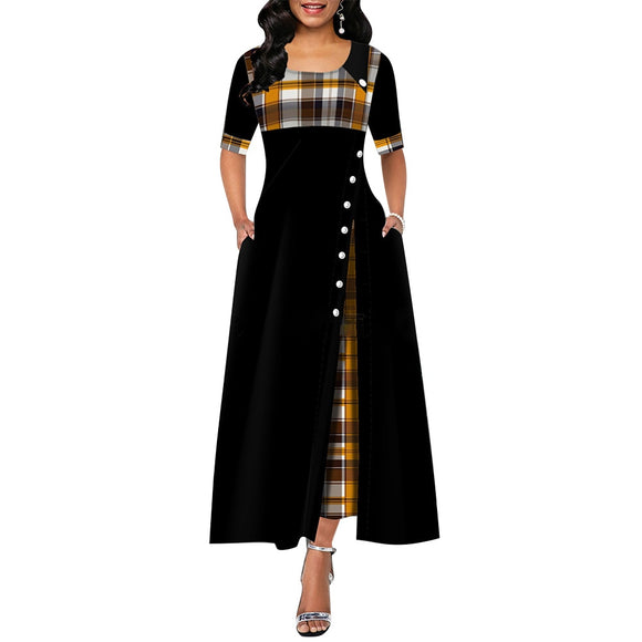 Elegant Long Dress Women spring Plaid Print Party Dress Irregular Vintage Dresses Ladies Button A-Line 2020 New fashion Dress - goldylify.com