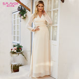 S.FLAVOR Beige Color Women Chiffon Dress 2020 Spring Summer Fashion Bohemian Long Dress Sexy V-neck Beach Vestidos De - goldylify.com
