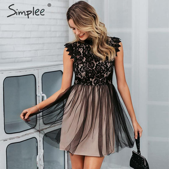 Simplee Women sleeveless lace dress Sexy embroidery floral black short party dress Ladies spring chic night club summer dress - goldylify.com