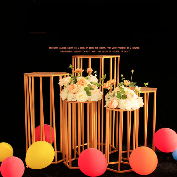 Wedding party christmas decorations for home backdrop metal iron hexagon cake dessert table stand centerpiece stand decoration - goldylify.com