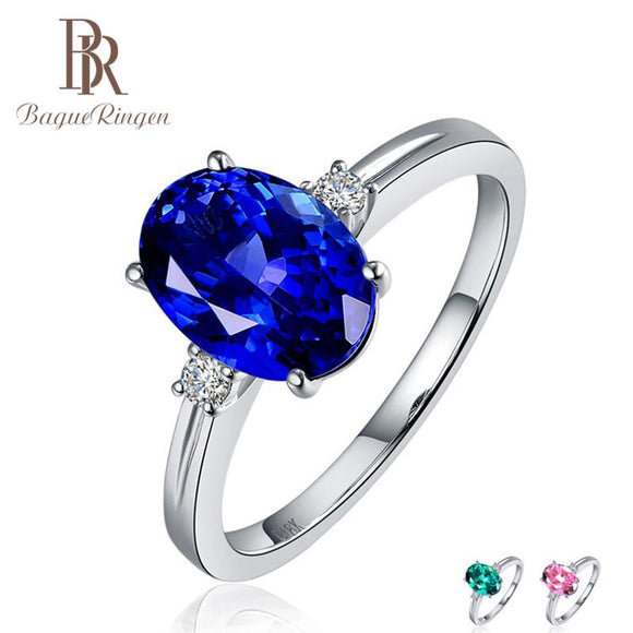 Bague Ringen Silver 925 Ring with oval blue sapphire stone for Women Engagement Ring Silver woman party Gemstones Jewelry - goldylify.com
