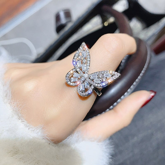 Shiny Side New Fashion Brand Jewelry Engagement Rings for Women Gift Crystal Butterfly Wedding Rings - goldylify.com
