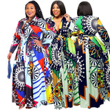 2019 New Fashion African Women Large Size Clothing Sexy Plus Size Long Sleeve 2 Piece Sets Print Maxi Dress