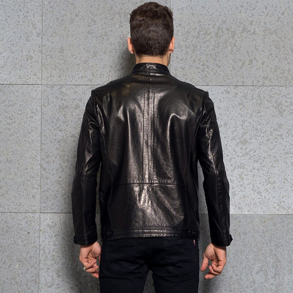 Street Punk Real Leather Jacket Men High Quality Slim Fit Black Short Motorcycle Jacket Spring 2020 Office Sheepskin Coat L-4XL - goldylify.com