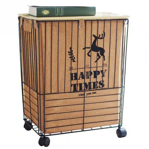 Dirty hamper Nordic wrought iron dirty clothes storage box metal storage basket with lid waterproof storage basket extra large - goldylify.com