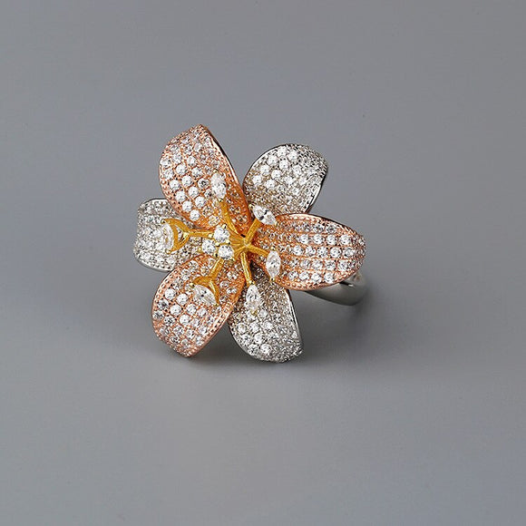 CMajor S925 Sterling Silver Jewelry European and American Style Fashion Temperament Exaggeration Daisy Flower7ACZ Ring for Women - goldylify.com