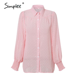 Simplee Sexy pink leopard women blouse shirts Casual office lady work wear tops Spring chic white long sleeve blouses shirts top - goldylify.com