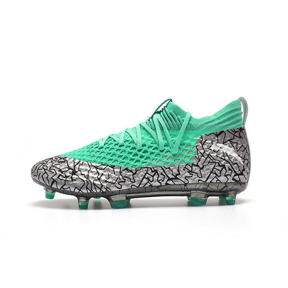 Silver green Men Football Boots High Ankle Soccer Shoe Women Soft Groud Man Football Shoes Botas De Futbol Socks Cleats Training - goldylify.com