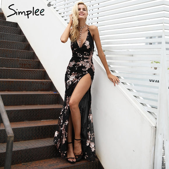 Simplee Sexy lace up halter sequin party dresses women High split maxi dress festa female Christmas evening long dress vestidos - goldylify.com