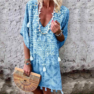 2019 new boho v-neck print dress Amazon hot sale african kitenge dress designs sexy beach dress