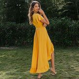 Simplee V-neck ruffled boho dress Sexy cotton short sleeve holiday beach maxi dress Casual solid yellow spring summer wrap dress - goldylify.com
