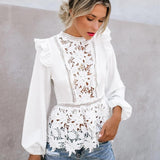 Women Floral Lace Blouses Boho Long Sleeve White Tops Ladies Hollow Out Shirts Autumn Spring Elegant Blouse Streetwear S-XL - goldylify.com