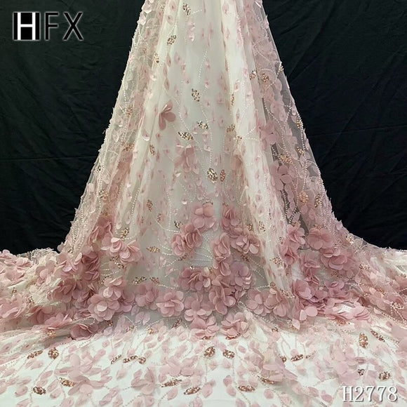 HFX Luxury French Laces African Lace Fabric 2019 High Quality 3d Lace Fabric With Beaded Bridal Lace Fabric In Nigerian F2778 - goldylify.com