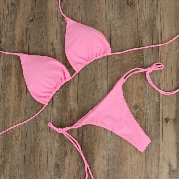 2019 Ladies Sexy Bikini Set 2pcs Sexy Summer Swimwear Bra Tie Side G-String Thong Beach Triangle Suit Swimsuit Hot Bathing Suit - goldylify.com