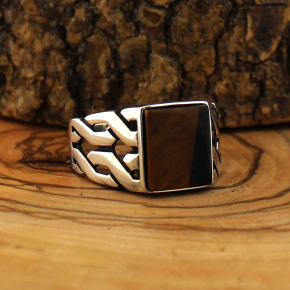 925 Silver Ring for Men with Tiger Eye Stone - goldylify.com
