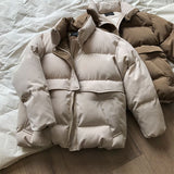Women Winter Parkas Coats Female Solid Coffee Warm Thicken Cotton Padded Bread Jackets