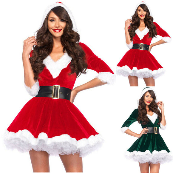 Fashion Miss Claus Dress Suit Women Christmas Fancy Party Dress Sexy Santa Outfits
