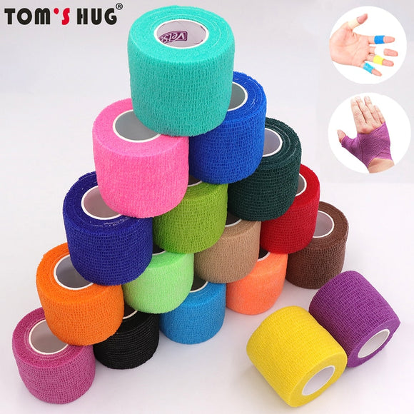 18 Colors Colorful Athletic Wrap Tape Self Adhesive Elastic Bandage Elastoplast Sports Protector Knee Finger Ankle Palm Shoulder - goldylify.com