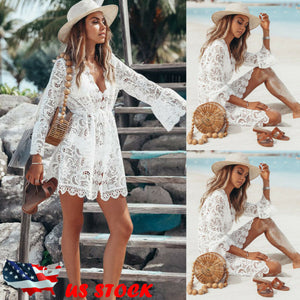 2019 New Summer Women Bikini Cover Up Floral Lace Hollow Crochet Swimsuit Cover-Ups Bathing Suit Beachwear Tunic Beach Dress Hot - goldylify.com