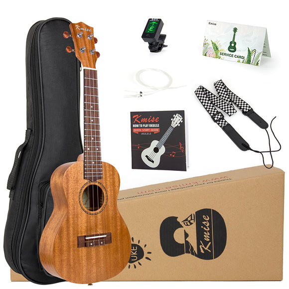 Kmise Ukulele Concert Soprano Tenor Kits Mahogany 21/23/26 inch Ukelele for Beginner + Bag Strap Case Tuner and Instruction Book - goldylify.com