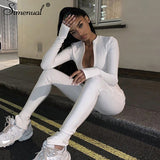 Simenual Casual Fitness Sporty Rompers Womens Jumpsuits Workout Zipper Activewear Long Sleeve Skinny Solid Jumpsuits Autumn 2019 - goldylify.com