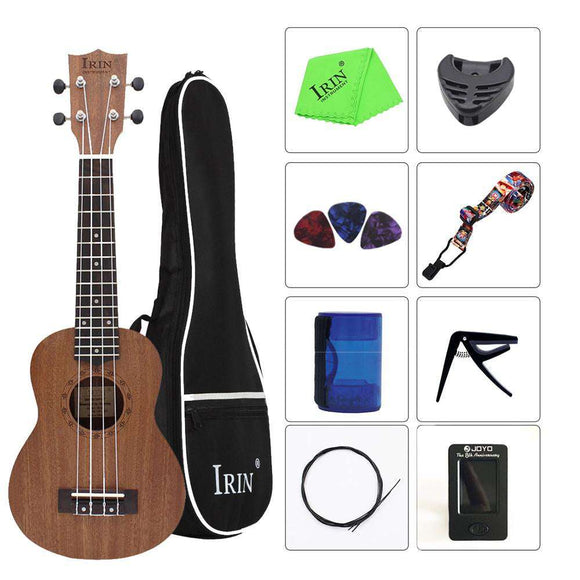 IRIN 21 Inch Ukulele Soprano Ukelele Mahogany Wood with Carry Bag Uke Strap Strings Tuner Cloth Finger Maraca Picks - goldylify.com