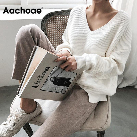 Womens Sweaters 2020 Autumn Winter Casual V Neck Women Pullover Sweater Solid Long Sleeve Fashion Loose Knitted Cashmere Top - goldylify.com