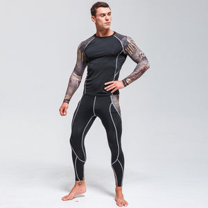 High Quality Men's Thermal Underwear Set    Gym Quick-drying Tights      Riding Clothes   New Warm Ski Underwear Sport suit  4XL - goldylify.com
