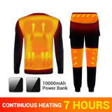 Winter Heated Underwear Fleece Lined Heating Thermal Underwear Set USB Electric Heated T-Shirts & Pants Battery Powered Ski Wear - goldylify.com