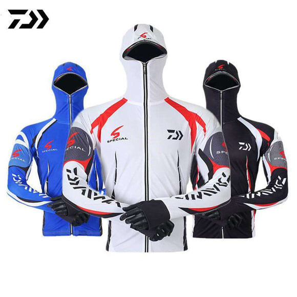 Daiwa Clothes Fishing Shirt Jacket Ice Silk Quick Dry Sports Clothing Sun Protection Face Neck Anti-uv Breathable Fishing Hooded - goldylify.com