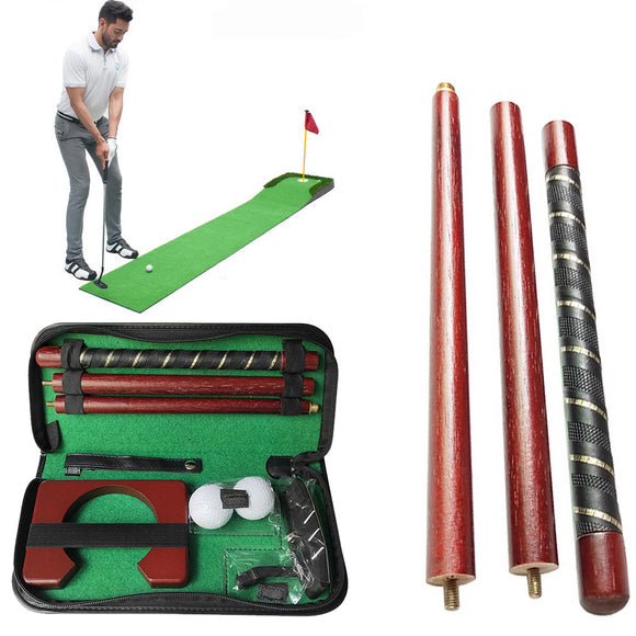 Putting Portable Golf Putter Set Gift Sports Practice Ball Holder Wood Travel Carry Case Training Aids Indoor Equipment Mini - goldylify.com