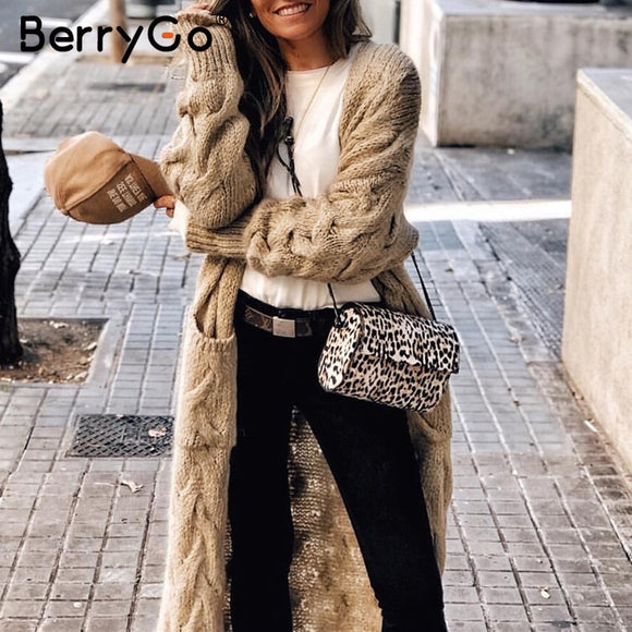 BerryGo Vintage mohair long cardigan women sweaters female Long sleeve pocket winter cardigans Casual knitwear pure jumpers - goldylify.com