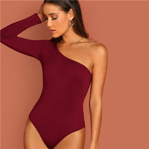 SHEIN One Shoulder Form Fitting Bodysuit Stretchy Sexy Solid Long Sleeve Basics Bodysuits Women 2019 Summer Skinny Bodysuits - goldylify.com