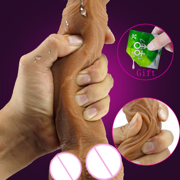 Skin feeling Realistic Dildo soft Liquid silicone Huge Big Penis With Suction Cup Sex Toys for Woman Strapon Female Masturbation - goldylify.com