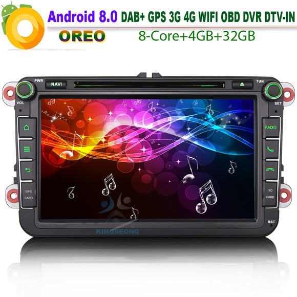 Android 8.0 DAB+ 8 Core Caddy Seat OPS Satnav Car Stereo WiFi Radio 4G CD BT DVD SD OBD GPS For VW polo passat golf Multivan T5 - goldylify.com