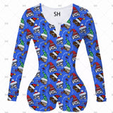 New Women Sexy V Neck adult Onesies Jumpsuit Sleepwear Christmas Halloween full Sleeve Shorts Bodycon Bodysuit plus size