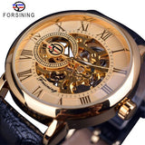 Forsining 3d Logo Design Hohl Gravur Schwarz Gold Fall Leder Skeleton Mechanische Uhren Männer Luxus Marke Heren Horloge|watch black leather|watch materialwatch strap leather