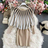 YornMona Big Sale Autumn Winter Women Knitted Bodycon Dress Fashion Pullover Mini Sweater Dress Elegant Christmas Party Dresses|Dresses