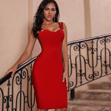 Lady's Bandage New Arrivals Red Spaghetti Strap Dress Bodycon Winter Bandage Party Dresses Women