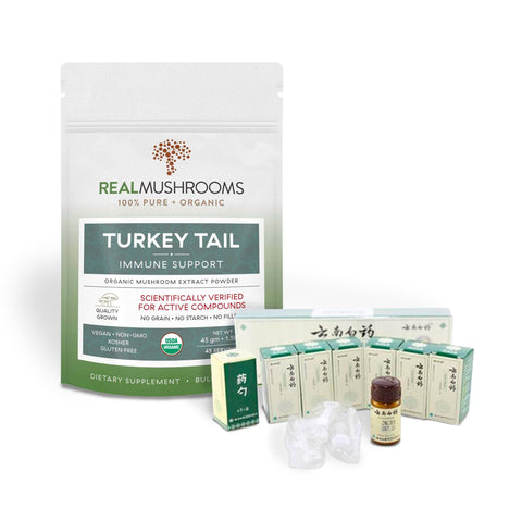 Turkey Tail Powder Plus 6-Pack Yunnan Baiyao Powder (Bundle)