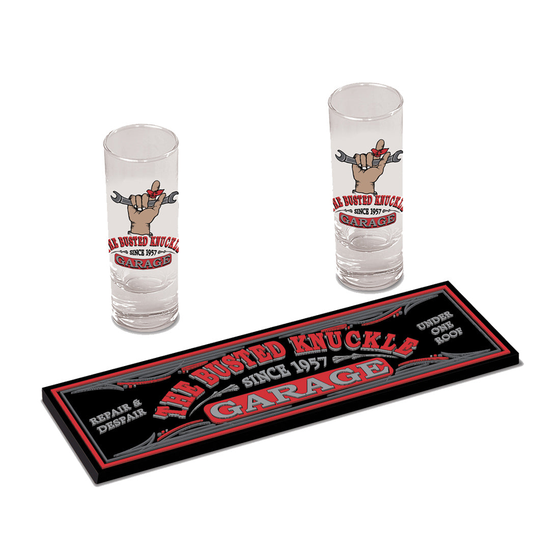 Car Guy Shot Glass Gift Set with Rubber Mat