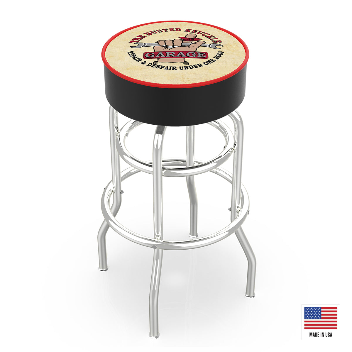 Distressed Vintage Logo Bar Stool