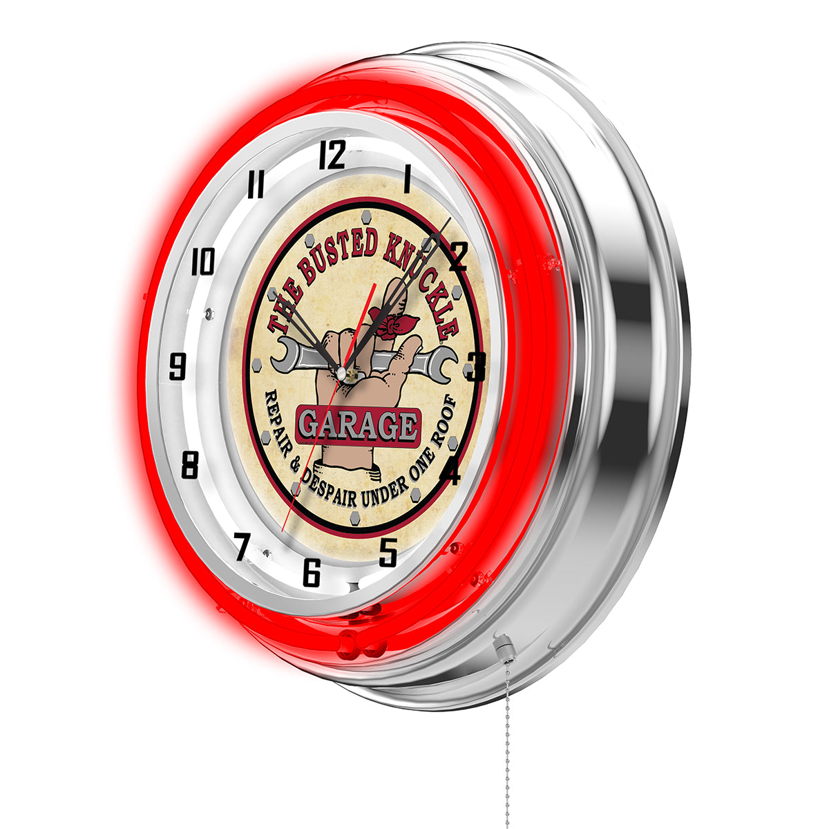 Vintage Logo Clock - Red Neon