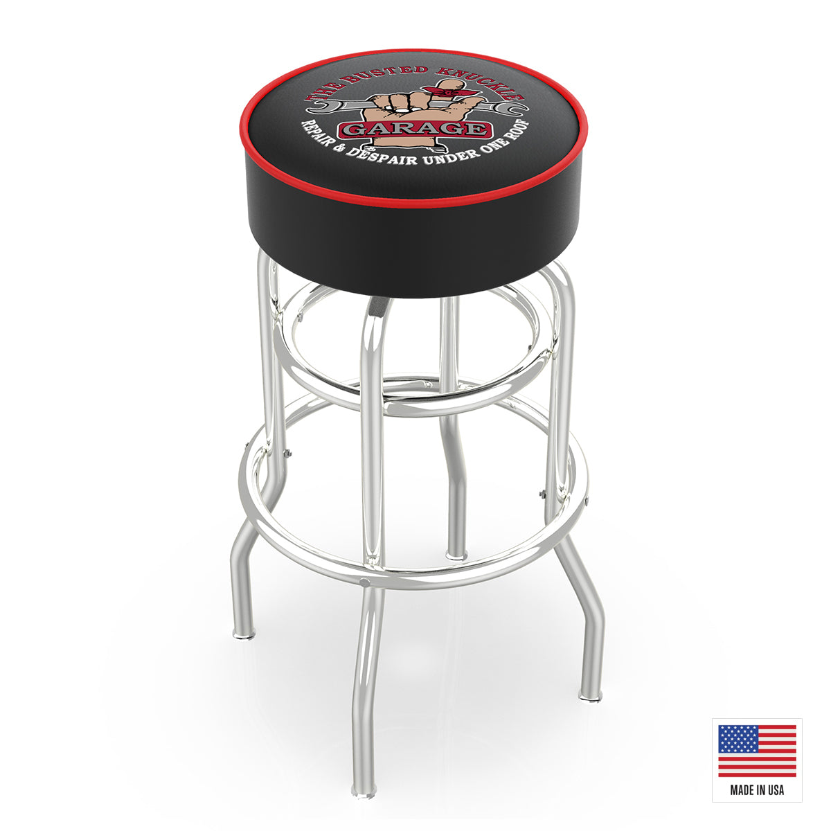 Black Vintage Logo Bar Stool