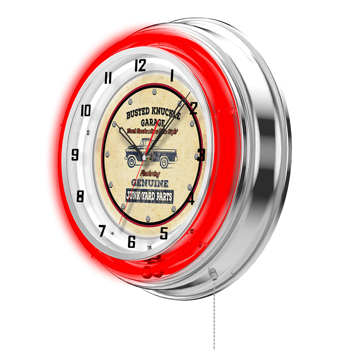 Genuine Junkyard Parts Clock - Red Neon