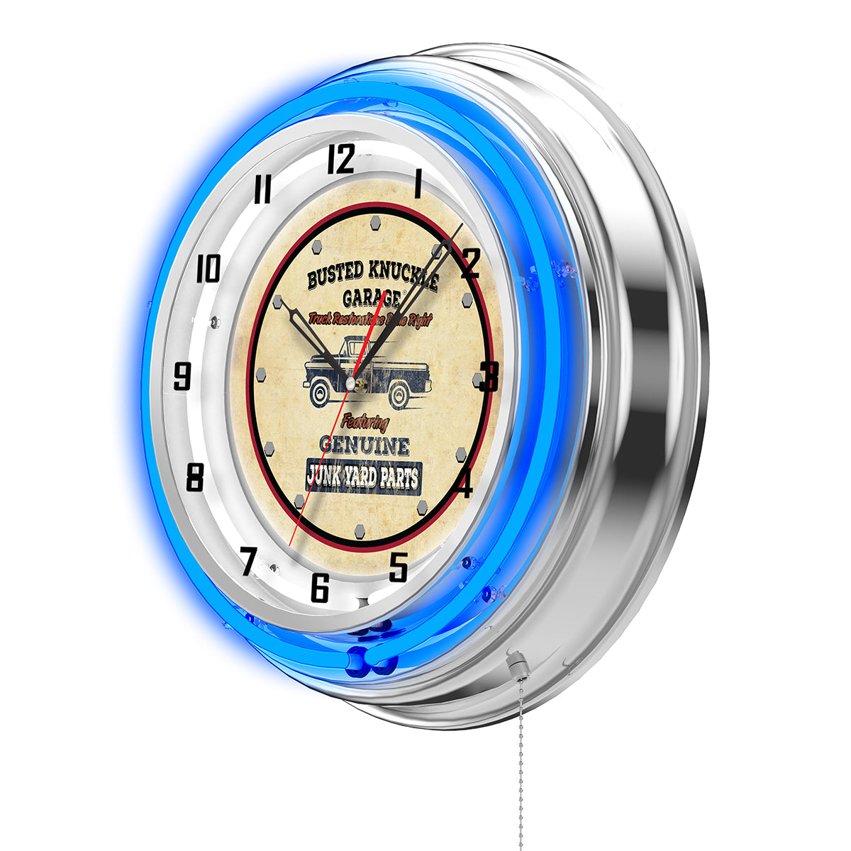 Genuine Junkyard Parts Clock - Blue Neon