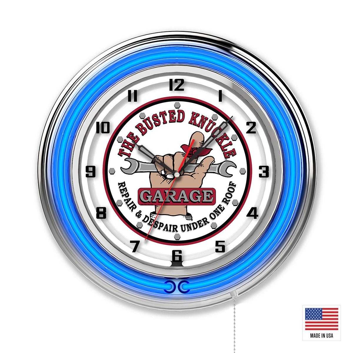 Busted Knuckle White Logo Clock - Blue Neon