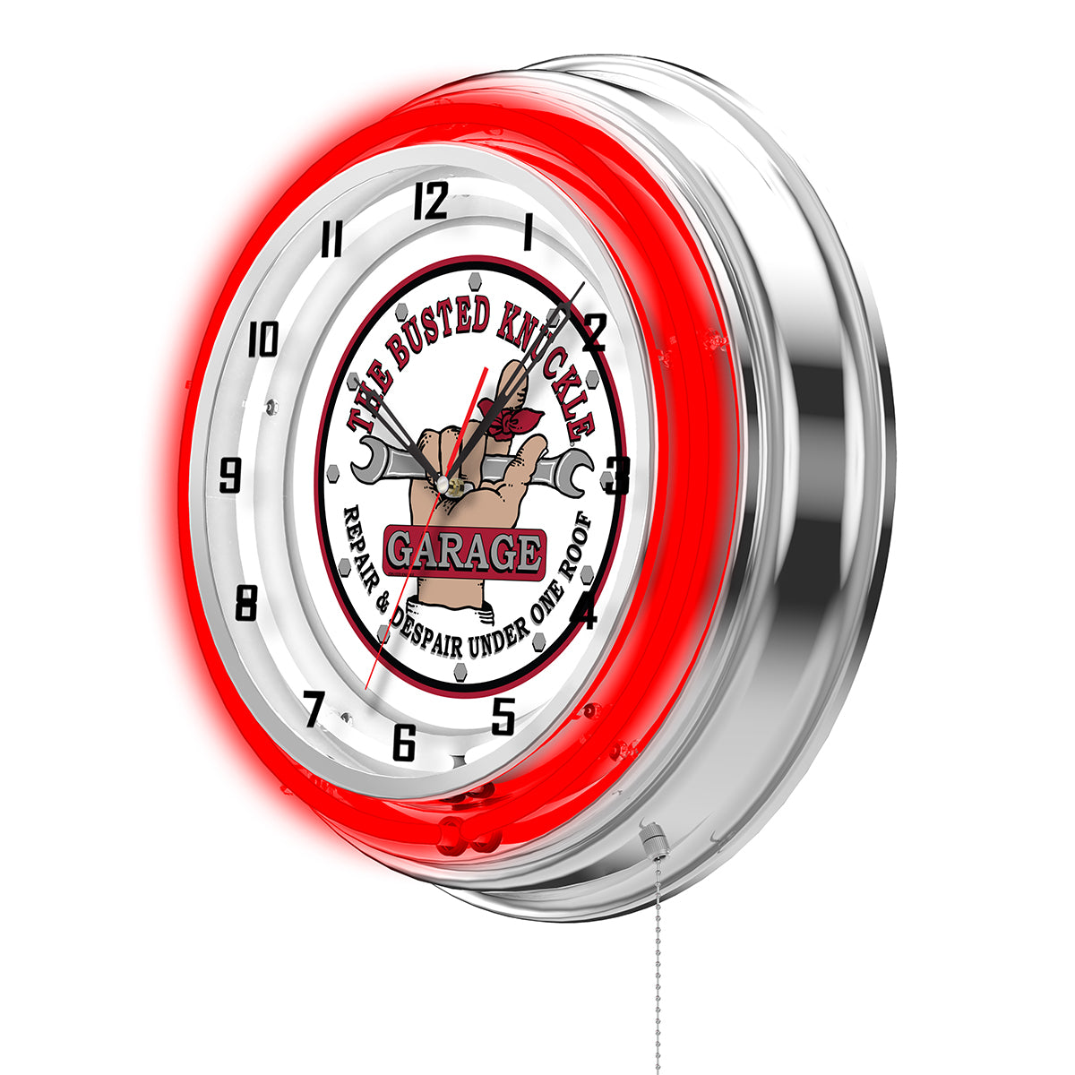 Busted Knuckle White Logo Clock - Red Neon